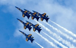 Blue Angels flying in formation.