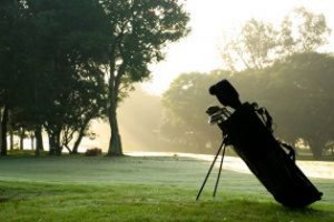 Golf bag resting on green grass with mist in the background.